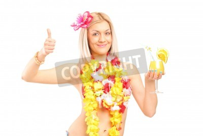 Naklejka Woman in hawaiian costume drinking cocktail and giving thumb up isolated on white background