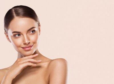 Naklejka Woman lips face neck hands fingers beauty concept healthy skin