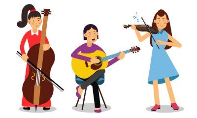Naklejka Woman Musicians Playing Musical Instruments And Singing On Stage Vector Illustration Set