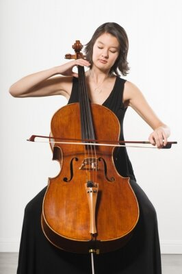 Naklejka Woman Playing Cello Classical Music Instrument