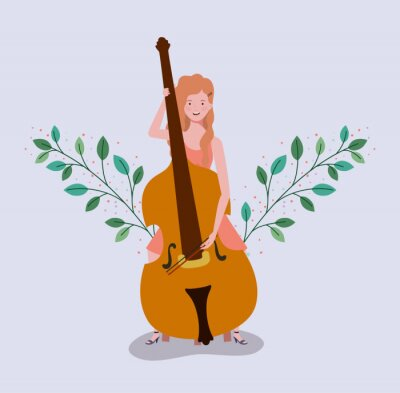 Naklejka woman playing cello instrument character