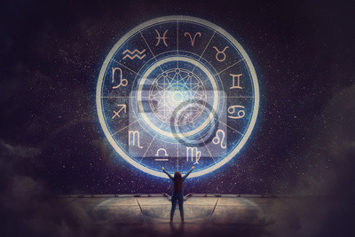 Naklejka Woman raising hands looking at the night sky. Astrological wheel projection, choose a zodiac sign. Trust horoscope future predictions, consulting stars. Power of universe, astrology esoteric concept.
