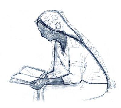 Naklejka Woman reading the book. Pencil drawing