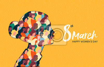 Naklejka Womens Day 8th march  woman head paper cut card