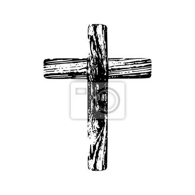 Naklejka Wooden cross on a white background