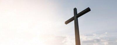 Naklejka Wooden cross over sunrise background