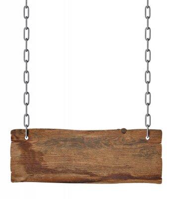 Naklejka wooden sign chain ropesignboard signpost