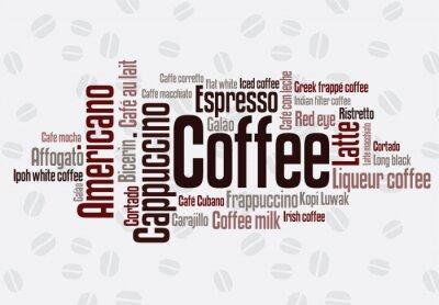 Naklejka Wordcloud kawy