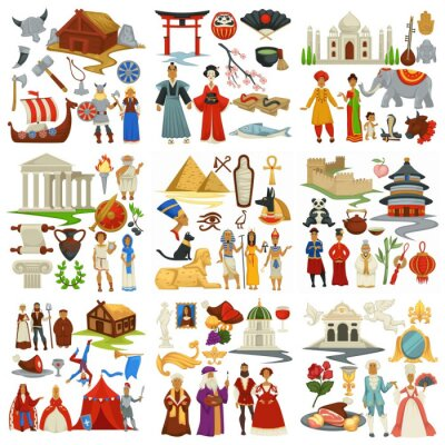 Naklejka World history and countries culture traveling and exploration epochs