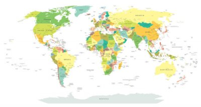 Naklejka World map - highly detailed vector illustration.