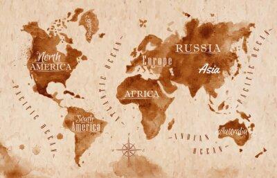 Naklejka World map map retro