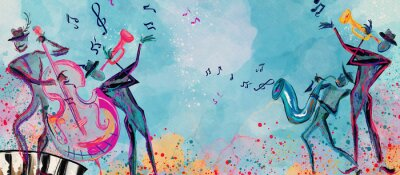 Naklejka World of music. Watercolor. Concept background..