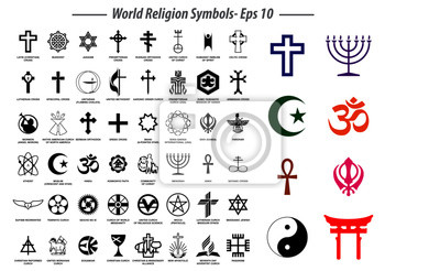 Naklejka world religion symbols signs of major religious groups and other religions isolated. easy to modify