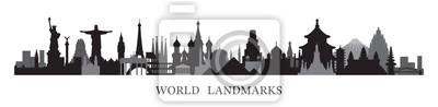 Naklejka World Skyline Landmarks in Black and White Silhouette