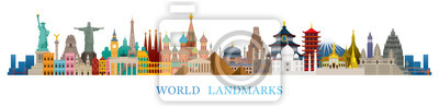 Naklejka World Skyline Landmarks in Flat Design Style
