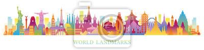 Naklejka World Skyline Landmarks Silhouette in Colorful Color