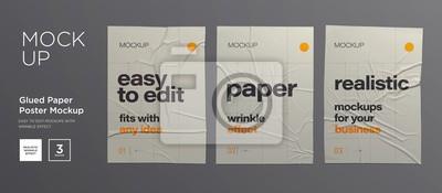 Naklejka Wrinkled poster template set. Glued paper. Vector Realistic wet wrinkled posters mockup