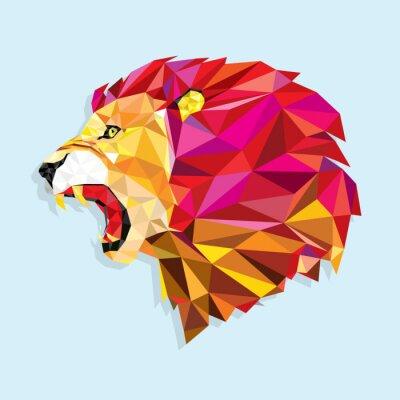 Naklejka Wściekły lew strukturze? Vector ilustracji geometrycznej
