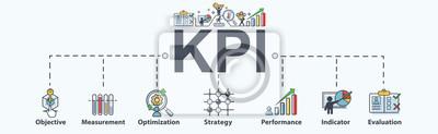 Naklejka Wskaźniki KPI (kluczowe wskaźniki wydajności) dla firm, pomiarów, optymalizacji, strategii, oceny i listy kontrolnej. Minimalny wektorowy infographic.