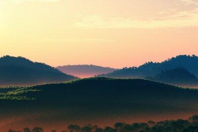 Naklejka Wspaniałe Fairy Tale Magiczna sceneria zachód słońca