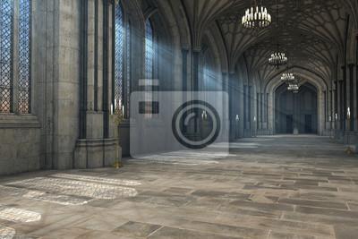 Naklejka Wspaniały widok katedry gotyckie wnętrze 3D CG ilustracji