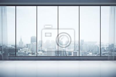 Naklejka Współczesne wnętrza z widokiem na miasto