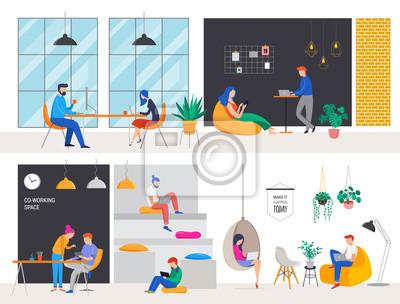 Naklejka Współpracująca przestrzeń, pojęcie ilustracja. Młodzi ludzie pracujący na laptopach i komputerach na wspólnym nowoczesnym biurze. Ilustracja wektorowa urządzony