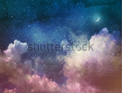 Naklejka Wszechświat pełen gwiazd i księżyca. Akwarela