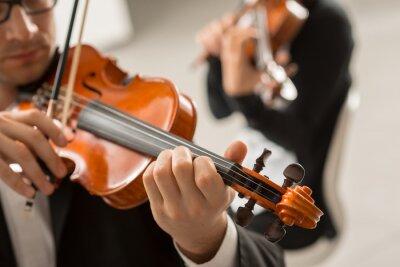 Naklejka wydajność duet skrzypcowy