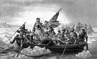 Naklejka Wygrawerowanym ilustracją George Washington przekraczania rzeki Delaware w czasie amerykańskiej wojny z wiktoriańskiej książki z dnia 1886