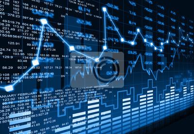 Naklejka Wykres rynku akcji.