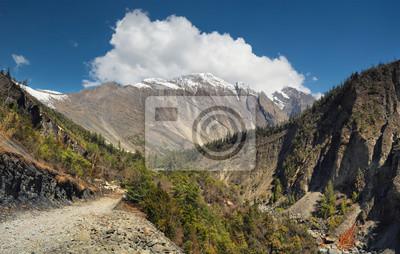 Wysoka góra szczyt w dolinie. Piękny krajobraz naturalny w okresie letnim