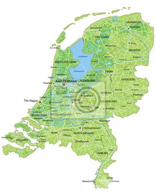 Naklejka Wysokie Szczegolowe Holandia Mapa Fizyczna Z