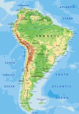 Naklejka Wysokie Szczegolowe Mapa Fizyczna Ameryki Poludniowej Z