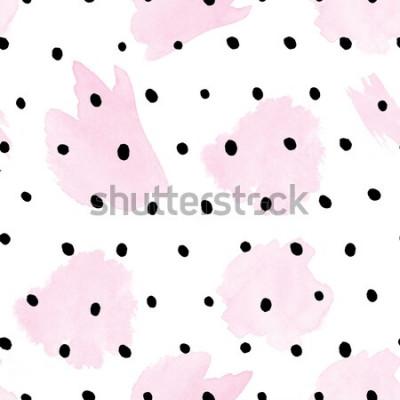 Naklejka Wzór - Akwarela różowe pociągnięcia na czarnych kropkach -