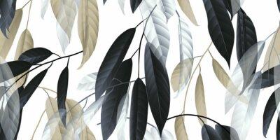 Naklejka Wzór, czarne, złote i białe długie liście na jasnoszarym tle