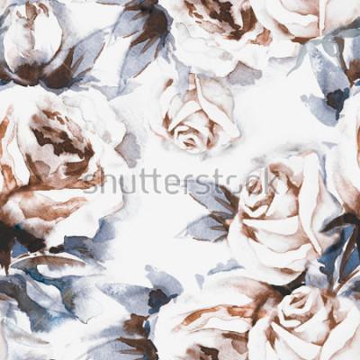 Naklejka Wzór róż. Akwarela ilustracja.