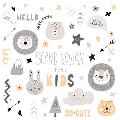 Naklejka Wzór Skandynawskie dzieci gryzmołów - elementy zestaw monochromatyczne dzikie zwierzę ręcznie rysowane lew twarz (kolor) zdobycz żółty biały czarny