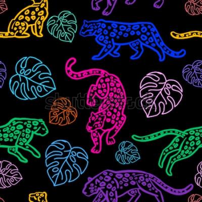 Naklejka Wzór. Śliczne lamparty i liście monstera. Pojedynczo na białym tle. Dzikie koty Neonowa ilustracja.