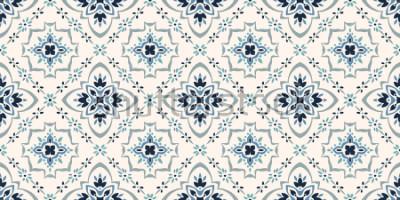 Naklejka Wzór Talavera. Azulejos portugalia. Ozdoba Tureckiego. Marokańska mozaika kafelkowa. Hiszpańska porcelana. Ceramiczna zastawa stołowa, nadruk z ludowych motywów. Hiszpańska ceramika. Pochodzenie etnic