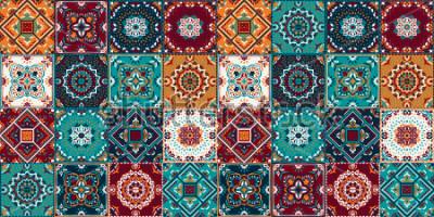 Naklejka Wzór Talavera. Patchwork indyjski. Azulejos portugalia. Ozdoba Tureckiego. Marokańska mozaika kafelkowa. Ceramiczna zastawa stołowa, nadruk z ludowych motywów. Hiszpańska ceramika. Pochodzenie etniczn