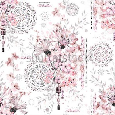Naklejka wzór z akwarela kwiaty i teksturowane ozdoby - mandali. Abstract kwiatowy tło. Płytka z łąkowym dzikim kwiatem i Geometryczną ilustracją.