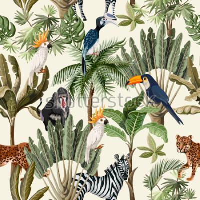 Naklejka Wzór z egzotycznych drzew i zwierząt.