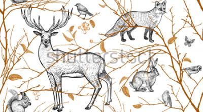 Naklejka Wzór z gałęzi drzew, zwierząt leśnych i ptaków. Jeleń, lis, zając, wiewiórka. Ilustracja ogólnej sztuki. Naturalny design dla tkanin, tekstyliów, papieru, tapety. Złoty czarny, biały. Zabytkowe.