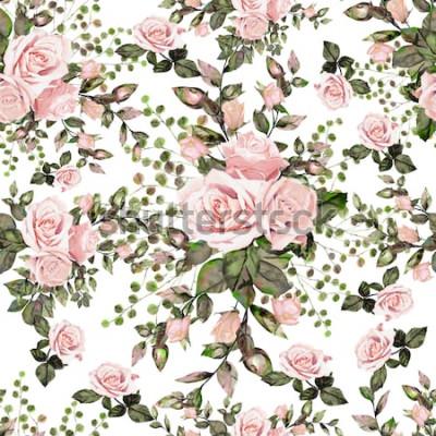 Naklejka Wzór z liści i kwiatów. Kwiatowy wzór tła. Akwarela ilustracja Różowe róże z dzikimi kwiatami.