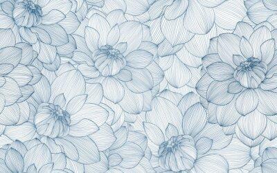 Naklejka Wzór z ręcznie rysowane kwiaty dalii.