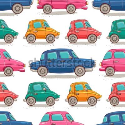 Naklejka Wzór z retro samochodów. Styl kreskówkowy