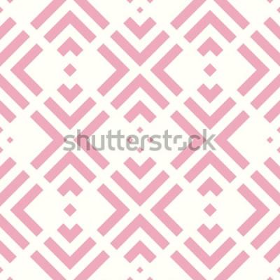 Naklejka Wzór z symetrycznym ornamentem geometrycznym. Pasiasty jasnoróżowy abstrakcjonistyczny tło. Powtarzana stylizowana tapeta kwadratów. Ilustracji wektorowych
