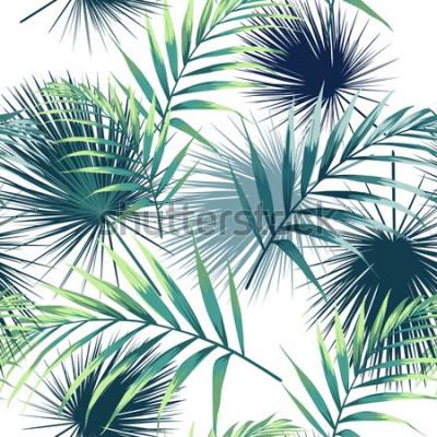 Naklejka Wzór z tropikalnych liści. Ciemne i jasne zielone liście palmowe na białym tle. Wektor wzór Tropikalna ilustracja. Liście dżungli.