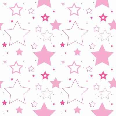Naklejka Wzorek bez szwu wektora wykonane z powtarzających się gwiazd. Te solidne i nakreślone różowe gwiazdy sprawiają, że ładne tło.